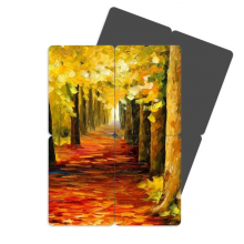 Covered With Red Leaves Oil Painting Refrigerator Magnet Puzzle Home Decal Magnetic Stickers (set of 4)