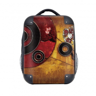 Red Black Circle Yellow Background Graffiti Hard Case Shoulder Carrying Children Backpack Gift 15""