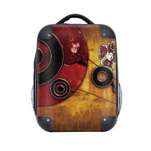 """Red Black Circle Yellow Background Graffiti Hard Case Shoulder Carrying Children Backpack Gift 15"""""""