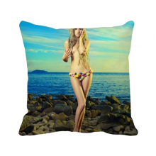 Flower Skirt Seaside Blonde Sexy girl Throw Pillow Square Cover