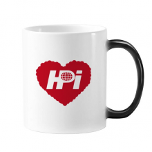 Haidianyuan Logo Red Heart Changing Color Mug Morphing Heat Sensitive Cup Gift With Handles 350 ml