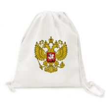Double-headed Eagle Russia Symbol Canvas Drawstring Backpack Shopping Travel Lightweight Basic Bag Gift