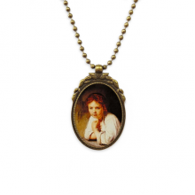 Character Oil Painting Girl Desk Art Antique Brass Necklace Vintage Pendant Jewelry Deluxe Gift