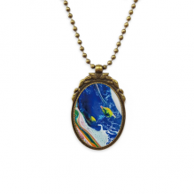 Colorful Texture Western Abstract Painting Antique Brass Necklace Vintage Pendant Jewelry Deluxe Gift