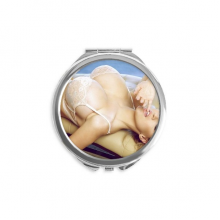Hot Boobs Breasts Lace Butt Gal Lady Hand Compact Mirror Round Portable Pocket Glass