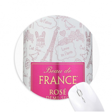 Beau De France Rose Demi-sec Round Non-Slip Rubber Mousepad Game Office Mouse Pad Gift