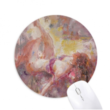 Art Body Nudity Light XJJ Oil Painting Round Non-Slip Rubber Mousepad Game Office Mouse Pad Gift