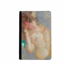 Body Art Nudity Girl XJJ Oil Painting Passpord Holder Travel Wallet Cover Case Card Purse Gifts