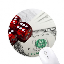 Dollar Coin Red Dice Gambling Photo Round Non-Slip Rubber Mousepad Game Office Mouse Pad Gift
