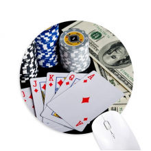Dollar Chip Card Gambling Photo Round Non-Slip Rubber Mousepad Game Office Mouse Pad Gift