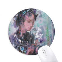 Oil Painting Chinese Opera Makeup Art Round Non-Slip Rubber Mousepad Game Office Mouse Pad Gift