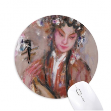 Chinese Opera Art Oil Painting Makeup Round Non-Slip Rubber Mousepad Game Office Mouse Pad Gift