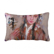 Chinese Opera Art Oil Painting Makeup Throw Pillow Lumbar Insert Cushion Cover Home Decoration
