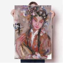 Chinese Opera Art Oil Painting Makeup Sticker Poster Decal 31x22