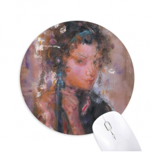 Chinese Opera Oil Painting Makeup Art Round Non-Slip Rubber Mousepad Game Office Mouse Pad Gift