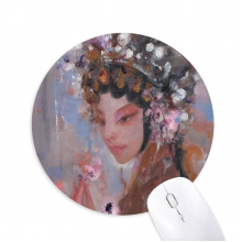 Art Chinese Opera Makeup Oil Painting Round Non-Slip Rubber Mousepad Game Office Mouse Pad Gift