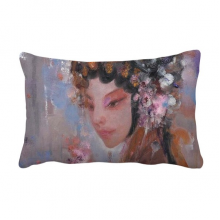 Art Chinese Opera Makeup Oil Painting Throw Lumbar Pillow Insert Cushion Cover Home Sofa Decor Gift