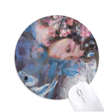 Chinese Opera Art Makeup Oil Painting Round Non-Slip Rubber Mousepad Game Office Mouse Pad Gift