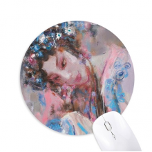Chinese Opera Makeup Art Oil Painting Round Non-Slip Rubber Mousepad Game Office Mouse Pad Gift