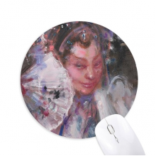 Chinese Opera Makeup Oil Painting Art Round Non-Slip Rubber Mousepad Game Office Mouse Pad Gift