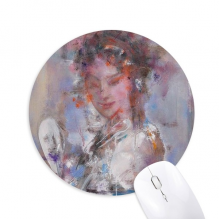 Oil Painting Chinese Opera Makeup Round Non-Slip Rubber Mousepad Game Office Mouse Pad Gift