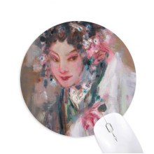 Chinese Opera Makeup Oil Painting Round Non-Slip Rubber Mousepad Game Office Mouse Pad Gift