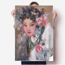 Chinese Opera Makeup Oil Painting Sticker Poster Decal 31x22