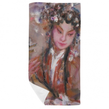 Chinese Opera Art Oil Painting Makeup Bath Towel Soft Washcloth Facecloth 35x70cm