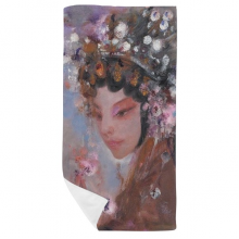 Art Chinese Opera Makeup Oil Painting Bath Towel Soft Washcloth Facecloth 35x70cm