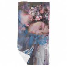 Chinese Opera Art Makeup Oil Painting Bath Towel Soft Washcloth Facecloth 35x70cm