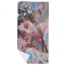 Chinese Opera Makeup Art Oil Painting Bath Towel Soft Washcloth Facecloth 35x70cm