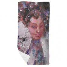 Chinese Opera Makeup Oil Painting Art Bath Towel Soft Washcloth Facecloth 35x70cm