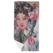 Chinese Opera Makeup Oil Painting Bath Towel Soft Washcloth Facecloth 35x70cm
