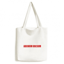 Adenium Obesum Flower Red Tote Canvas Bag Shopping Handbag Craft Washable