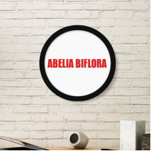 Abelia Biflora Flower Red Plant Round Frame Art Painting Wooden Home Wall Decor