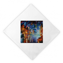 Night Street Paninting Dinner Napkins Lunch White Reusable Cloth 2pcs