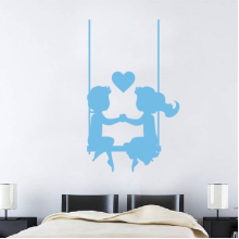 Blue Couple Heart-Shaped Ornaments Removable Wall Sticker Art Decals Mural DIY Wallpaper for Room Decal