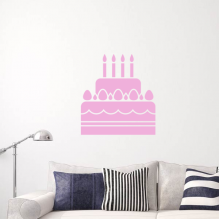 Pink cake candle Removable Wall Sticker Art Decals Mural DIY Wallpaper for Room Decal