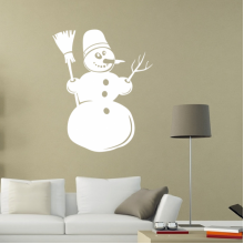 Snowman Branch Hat Broom Removable Wall Sticker Art Decals Mural DIY Wallpaper for Room Decal