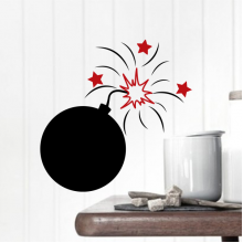 Black Bomb Red Star Sparks Pattern Removable Wall Sticker Art Decals Mural DIY Wallpaper for Room Decal