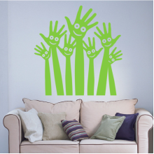 Green Arm Palms Smiling Face Pattern Removable Wall Sticker Art Decals Mural DIY Wallpaper for Room Decal