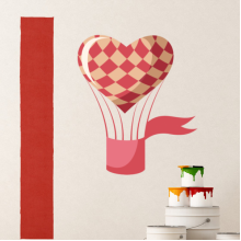 Pink Heart-Shaped Hot Air Balloon Removable Wall Sticker Art Decals Mural DIY Wallpaper for Room Decal