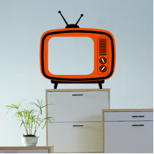 Cute Simple Wind Orange TV Removable Wall Sticker Art Decals Mural DIY Wallpaper for Room Decal