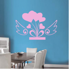 Pink Heart-Shaped Angel Wings Removable Wall Sticker Art Decals Mural DIY Wallpaper for Room Decal