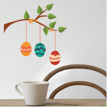 Three Colorful Eggs Branches Removable Wall Sticker Art Decals Mural DIY Wallpaper for Room Decal