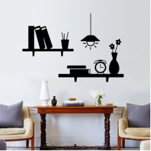 Lights Bookcase Alarm Clock Decoration Removable Wall Sticker Art Decals Mural DIY Wallpaper for Room Decal