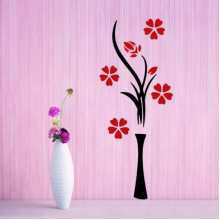 Art Vase Red Flower Decoration Removable Wall Sticker Art Decals Mural DIY Wallpaper for Room Decal