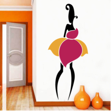 Yellow Pink Adjacent Sexy Girl Abstract Pattern Removable Wall Sticker Art Decals Mural DIY Wallpaper for Room Decal