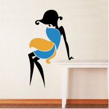 Yellow And Blue Dress Sexy Woman Abstract Removable Wall Sticker Art Decals Mural DIY Wallpaper for Room Decal