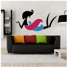 Lazy Posture Purple Blue Skirt Sexy Girl Abstract Pattern Removable Wall Sticker Art Decals Mural DIY Wallpaper for Room Decal